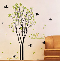 Wholesale Orange Wall Arts - Lime Orange Tree Wall Sticker Green Tree and Birds Wall Decal Living Room Wall Paper