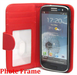 Wholesale Galaxy S4 Credit Card - Photo Frame Wallet Credit ID Card Leather Case For Galaxy s3 i9300 s3 mini i8190 s4 i9500 s4 mini i9190 iphone 4 4s 5 5s ONE M7 50PCS