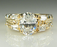 Wholesale 14k Yellow Gold Set - Gorgeous 14k Solid Yellow Gold White Sapphire Wedding Valentine Day Gift Engagement Big Ring For Women Free Shipping SZ7.5 P103gold wedding