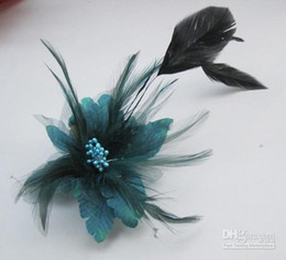 Wholesale Feather Bouquets - 20pcs Lot Mixed Colors Feather FASCINATOR Wedding Party Hair Acccessory Clip CORSAGE Brooch Pin