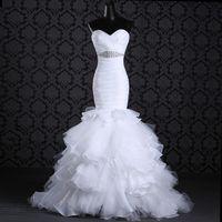 UK wedding dress sweetheart beading real - White Wedding Gown Backless Sweetheart Ruffled Skirt Sexy Bridal Dresses Organza Pleated Bodice Beading Sash