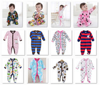Wholesale Girls Footies - Wholesale Footies Baby Rompers with foot Newborn Bodysuits Fleece Body Warmer 36pcs lot First Movement