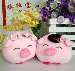 Wholesale Couples Wedding Dress - Plush Pig Wedding Lovers 1Pair  Lot Gift plush Toys Couple Dress Pig in Pink for Birthday Wedding Gifts Free Shipping