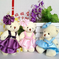 Wholesale Teddy Bears Diamond - (11cm) Small Dressing Bear Acrylic Diamond Soft PP Cotton Bowknot Bear Doll Jointed Doll Dress Teddy Bear Mini Gift 12pcs Lot