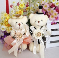1 paire de vente Bonne qualité Poupée en peluche Couple Bear Dressing Diamond Wedding Bear Toy Bon cadeau pour Girl # 4