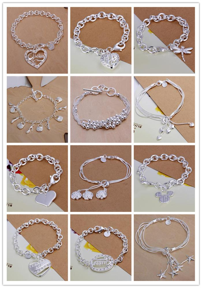 New Hot Fashion Women's Smycken Multi Styles Charms Chain Armband 925 Silver Mix Styles Silver Armband Bästa gåva