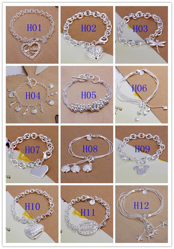 New Hot Fashion Women's jewelry Multi Styles Charms Chain Bracelet 925 Silver Mix Styles Silver Bracelets Best gift