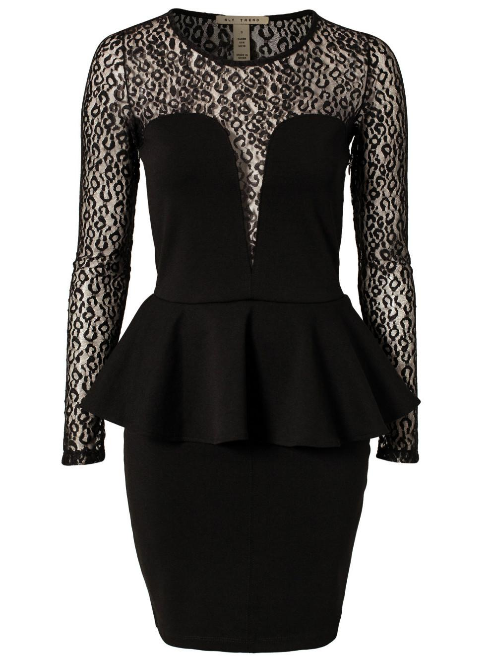 Gratis frakt Hot Women's Clubwear Sexiga Lace Patchwork Cocktail Party Långärmad Peplum Full Dress Lady Casual Dress Svart / Mörk Röd