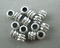 Wholesale jewelry spacer beads diy - Hot ! 300pcs Tibetan Silver Dotted Barrel Spacer Beads Findings 5mmx5mmx4mm DIY jewelry