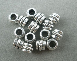 Wholesale Christmas Spacer Beads - Hot ! 300pcs Tibetan Silver Dotted Barrel Spacer Beads Findings 5mmx5mmx4mm DIY jewelry