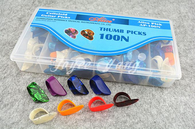 of Alice Guitar Finger Thumb Picks Plectrums Quality Celluloid Material Guitar Picks Original Box