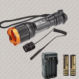 Wholesale Torch Light Portable Charger - wholesale 1800 Lumen Tactical Zoomable CREE XM-L T6 LED 18650 Flashlight Torch Zoom Lamp Light +2x18650 Battery+Charger + Pressure switch
