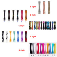 Wholesale E Cig Mix - Colorful Mixed Style 510 901 Aluminum drip tip Long Drip Tips with Splash for 510 E Cig DCT EE2 Atomizer Stainless Steel Mouthpiece