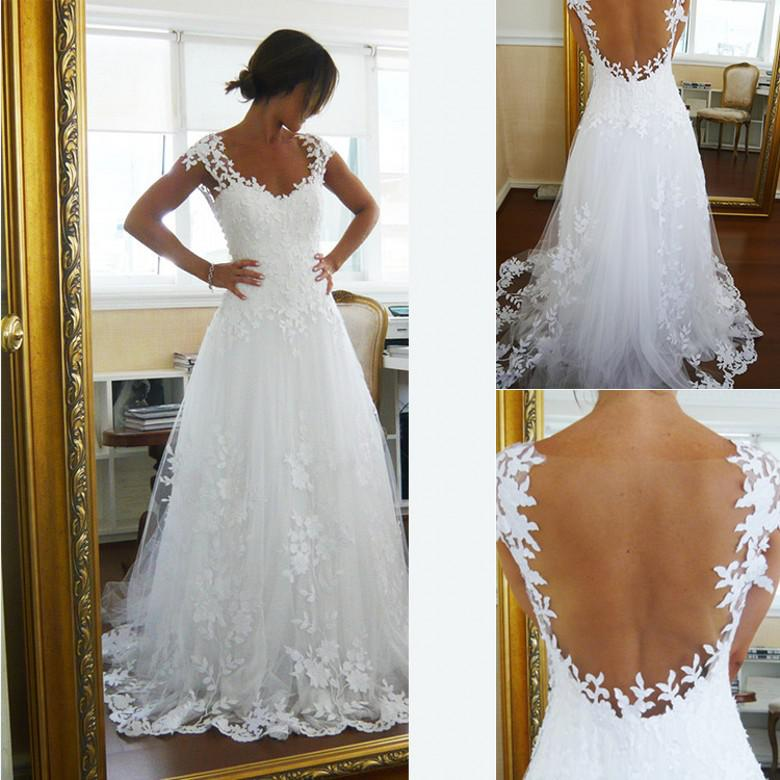 2019 Vintage Sheer A-Line Wedding Dresses Cheap Bridal Gown Dresses for Garden Beach Wedding Bride High Quality Lace V-Neck Plus Size Custom