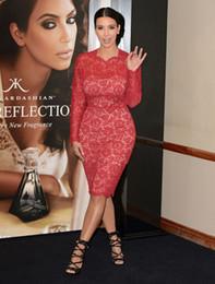 Wholesale Kim Kardashian Dress Designer - Kim Kardashian Long Sleeves Sheer Short Evening Dresses Bow Red Lace Knee Length Sheath High Neck Red Carpet Dresses Prom Dress Designer