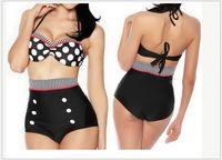 ingrosso alto perno in vita su bikini-Hot Vintage A Vita Alta Polka Dot Bikini Set Cutest Retro Costume Da Bagno Pin Up Swimwear S / M / L / XL Spedizione Gratuita
