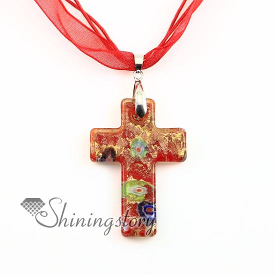 Christian Cross Pendants Glitter MilleFiori Lampwork Murano Glas Halsband Halsband Hängen Högmodig Smycken Mup2392Dy0