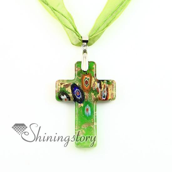 Christian croce pendenti glitter millefiori lampwork murano vetro collana collane pendenti alta moda gioielli mup2392dy0