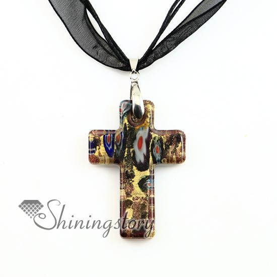 Christian cross pendants glitter millefiori lampwork murano glass necklace necklaces pendants High fashion jewelry mup2392dy0