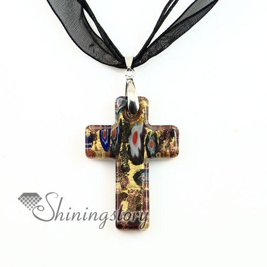 Croix chrétienne pendentifs millefiori pendentif murano en verre de murano collier colliers pendentifs haute couture bijoux mup2392dy0