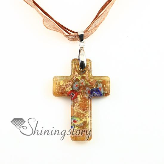 Christian Kreuz Anhänger Glitter Millefiori Murano Glas Halskette Halsketten Anhänger High Fashion Schmuck mup2392dy0