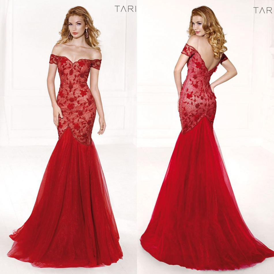 2016 Lace Beading Evening Dresses Red Off Shoulder Mermaid Tulle ...