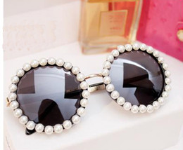 Wholesale Fancy Metal - 2016 latest Designer Overstate bridal braidmaid Pearl Sunglasses Handmade Brand glasses for Women metal frame +fancy case+clean cloth