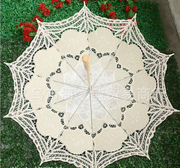 Wholesale Ivory Lace Wedding Umbrellas - TOP quality perfect design Lace Parasol Sun Umbrella Ribbon in Ivory & White Parasol Umbrella Wedding Bridal