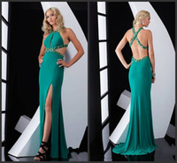 Wholesale Chiffon Low Cut Prom - 2014 Amazing Prom Dresses A-Line Crew Chiffon Evening Gowns Criss Cross Beaded Straps Side Cut-Outs Lower Back Split Dress Fitted Gown