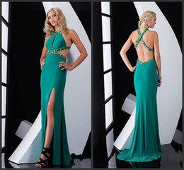 Wholesale Low Cut Chiffon Evening Dress - 2014 Amazing Prom Dresses A-Line Crew Chiffon Evening Gowns Criss Cross Beaded Straps Side Cut-Outs Lower Back Split Dress Fitted Gown