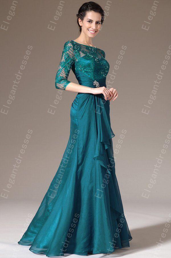 Ny ankomst 2019 elegant chiffong 3/4 ärmar längd A-line mor till bruden klänningar formella klänningar 100% samma 4053