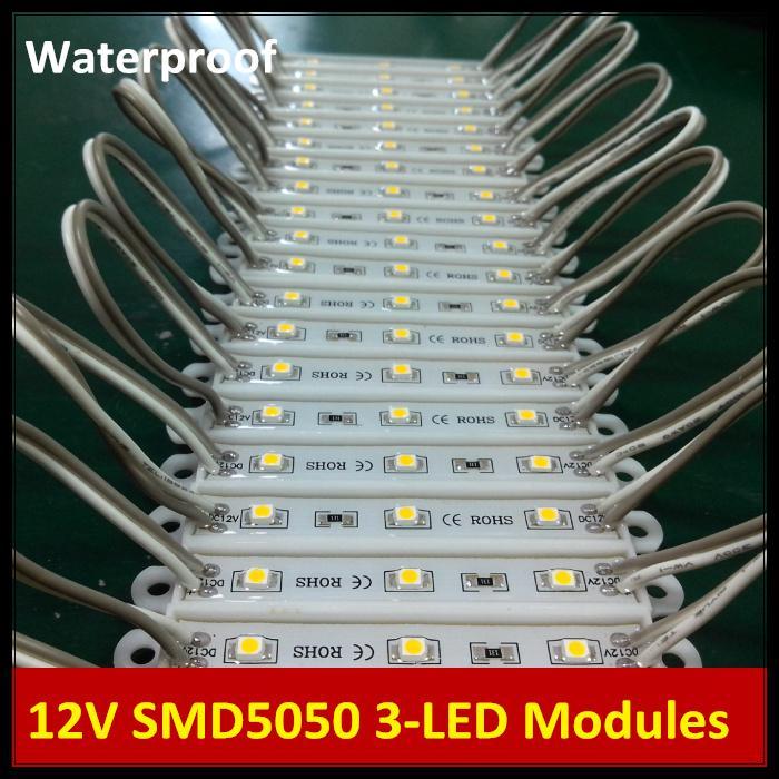 Waterproof IP65 12V DC 3 LEDs 5050 LED Backlight LED Modules Lamp for Advertising Sign