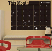 Wholesale Monthly Blackboard Sticker - 1PCS Monthly Planner Blackboard Wall Stickers Office And Home Use Original This Month Wall Decals Home Decor