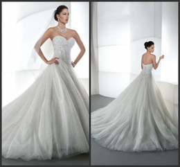 Wholesale Sweep Beads Sweetheart - 2014 white tulle sweep train A-line sheath wedding dresses beads sequins sweetheart sweep train zipper sweetheart sleeveless autumn dress