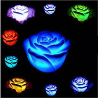 Wholesale Best Led Lights For Parties - Romantic Changeable Color LED Rose Flower Candle Lights Smokeless Flameless Roses Love Lamp Best for Valentine's Day