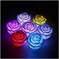 rose blume führte kerze lichter großhandel-50pcs LED Rose Light romantische veränderbare Farbe LED Rose Flower Candle Lights rauchlose flammenlose Rosen Liebe Lampe Valentinstag Geschenke