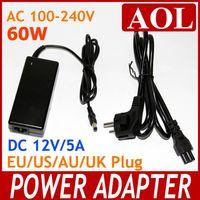 Wholesale Power Balancer - 3pcs lot 60W AC 100-240V to DC 12V 5A Power Supply Adapter Balancer Charger EU US AU UK Cord for led light stips free shipping
