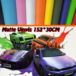 Wholesale Mirror Wrap Car - High Quality Matte Black Vinyl Wrap Air Free Bubble For Car Stickers FREE SHIPPING Size: 152 cm*30 cm