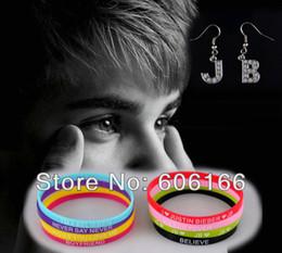 Wholesale Silicone Wristband 5mm - Mix Hot 96pcs 5mm Justin Bieber Belieber Silicone Bracelet Wristbands JB Earring Fashion Jewelry Wholesale
