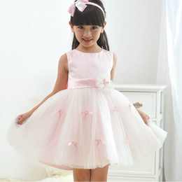 Heißer Verkauf Sommer Kinder Kleid Rosa Organza und Spitze Grenadine Mädchen Kleid / Röcke Blumenmädchen Kleider Party Kleider von Fabrikanten
