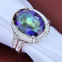 Wholesale Unusual Weddings - Free shipping - Fashion 925 silver Unusual Pretty and colorful Natural Mystic topaz best for Valentine's Day Ring CR0180