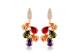 mona lisa gold Canada - 18K Gold Plated My Mona Lisa Multicolor CZ stones Cluster Drop Earring