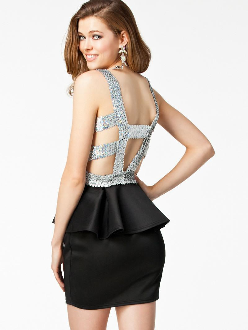 Hot Women's Sexy Clubwear Cocktail Party Dresses Sequin Round Neck Peplum Ruffled Backless Bodycon Dress Lady's Black Dress