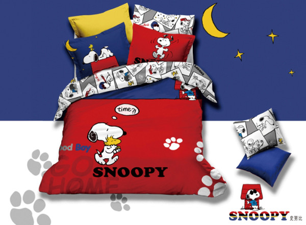 Snoopy Dog Red Comforter Bedding Set Queen Cartoon Animie