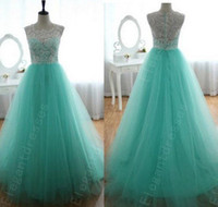 Wholesale Cheapest Women Formals - Designer 2014 Elegant Beaded Mint Lace Tulle Pageant Dresses For Women Formal Dresses Cheap Dresses 100% Same