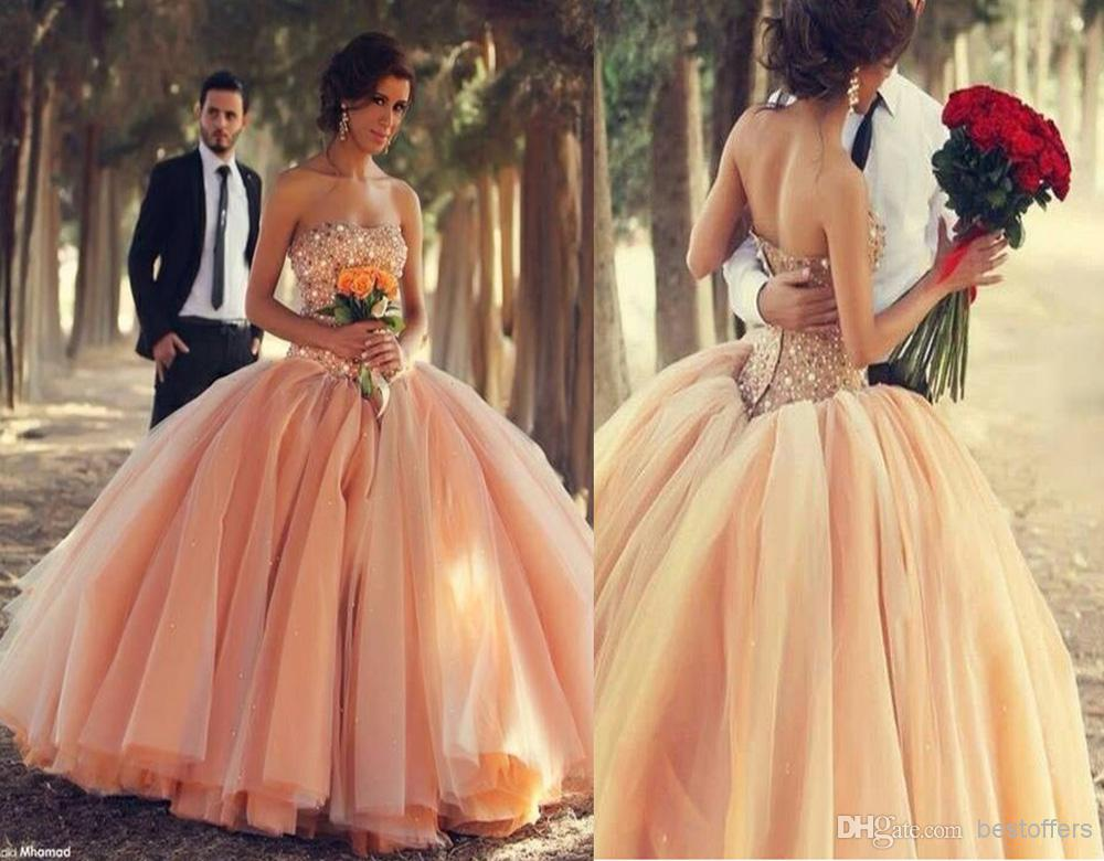 Blush Ball Gown Wedding Dress: Peach Wedding Dress With Sweetheart Neck Beads And