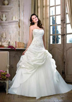 Wholesale Strapless Glamour Wedding Dresses - Best Selling 2014 Glamour A-line Lace Up Ruffles Taffeta Ivory Wedding Dresses Beautiful Flare Bridal Gown Divid