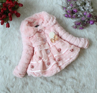 Wholesale Warm Baby Snowsuit - Toddlers Baby Girls Junoesque Faux Fur Fleece Lined Coat Children Winter Long Sleeve Warm Jacket With Flowers Pearl Brooch Kids Snowsuit