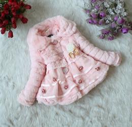 Wholesale Brooch Kids - Toddlers Baby Girls Junoesque Faux Fur Fleece Lined Coat Children Winter Long Sleeve Warm Jacket With Flowers Pearl Brooch Kids Snowsuit
