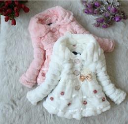 Wholesale Wholesale Toddler Faux Fur Coats - 4Pcs Toddler Baby Girls Junoesque Faux Fur Fleece Lined Coat Children Winter Long Sleeve Warm Jacket With Flowers Pearl Brooch Kids Snowsuit